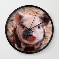 piglet Wall Clocks featuring Sweet piglet by MehrFarbeimLeben