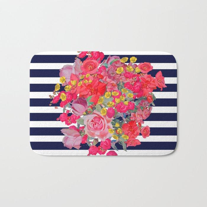 Vintage Floral Burst Print With Navy Stripes Bath Mat By