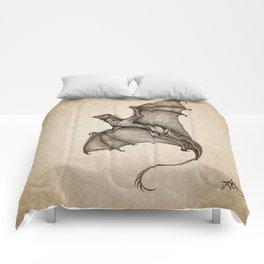 """Hurricane Wyvern"" by Amber Marine, Ink & Graphite Dragon Art, (Copyright 2016) Comforters"