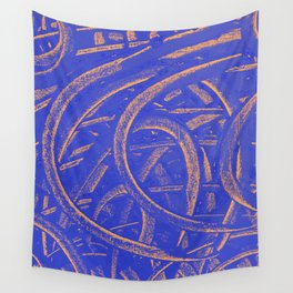 Junction - Blue and Orange Wall Tapestry