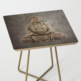 Sitting Buddha On Distressed Metal Background Side Table