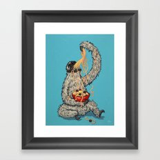 Three Toed Sloth Eating Spaghetti From a Bowl Framed Art Print