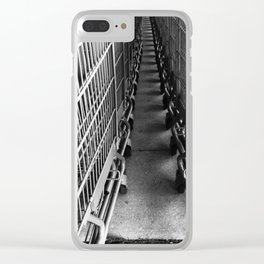 Shopping Cart Abstract in B&W Clear iPhone Case