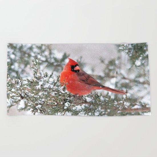 Winter's Beauty Cardinal Beach Towel