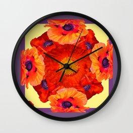 Orange-Yellow Poppies Purple Pattern Art Wall Clock