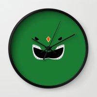 power ranger Wall Clocks featuring Green Ranger Remix by hellostranger