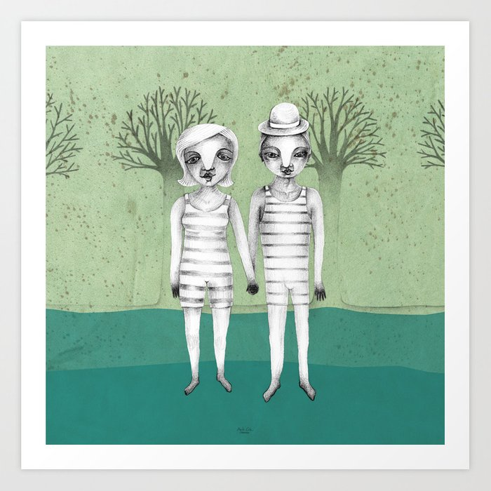 gymnast couple in the forest Art Print