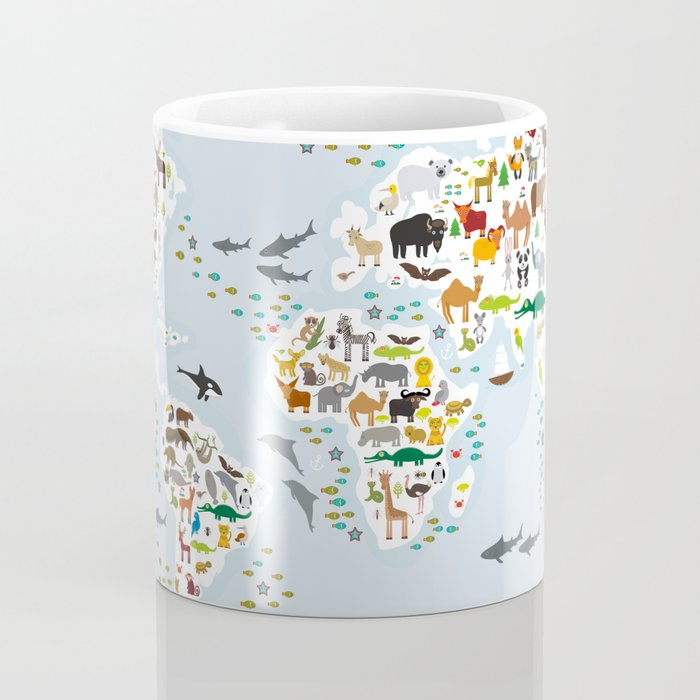 Cartoon animal world map for children and kids, Animals from all over the world Kaffeebecher