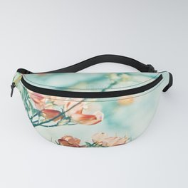 Teal Peach Coral Flower Photography, Aqua Turquoise Orange Dogwood Floral Nature Art Fanny Pack