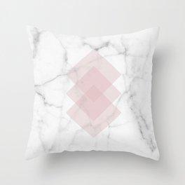 White Marble Scandinavian Geometric Blush Pink Squares Throw Pillow