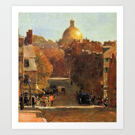 Classical Masterpiece 'Mount Vernon Street, Boston' by Frederick Childe Hassam Art Print