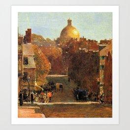 Classical Masterpiece 'Mount Vernon Street, Boston' by Frederick Childe Hassam Art Print