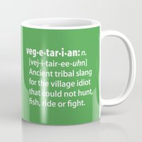 vegetarian Mugs featuring Vegetarian definition dictionairy by Laundry Factory