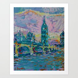 London Bridge - palette knife abstract city landscape with Big Ben Art Print