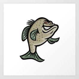 Crappie Fish Standing Mascot Art Print