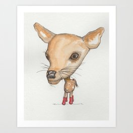 NORDIC ANIMAL - DEDE THE  DEER / ORIGINAL DANISH DESIGN bykazandholly Art Print