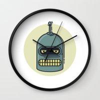 bender Wall Clocks featuring Bender by Thiago Grossmann