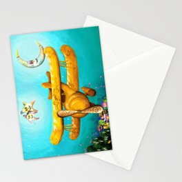 Dia de Los Muertos Bi-Plane, with Sugar Skull Moon and Stars Stationery Cards