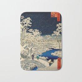 Ukiyo-e, Ando Hiroshige, Yuhi Hill and the Drum Bridge at Meguro Bath Mat