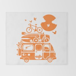 Funny family vacation camper Throw Blanket