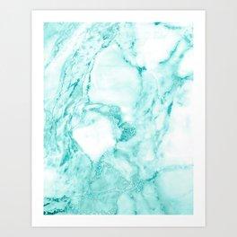 Teal Mermaid Glitter Marble Art Print