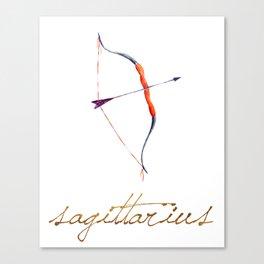 Watercolor Sagittarius Bow & Arrow Canvas Print
