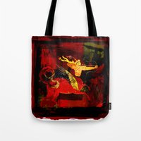 boxing Tote Bags featuring Boxing Sagittarius by Genco Demirer