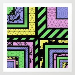 Pastel Corners (Abstract, geometric, textured designs) Art Print