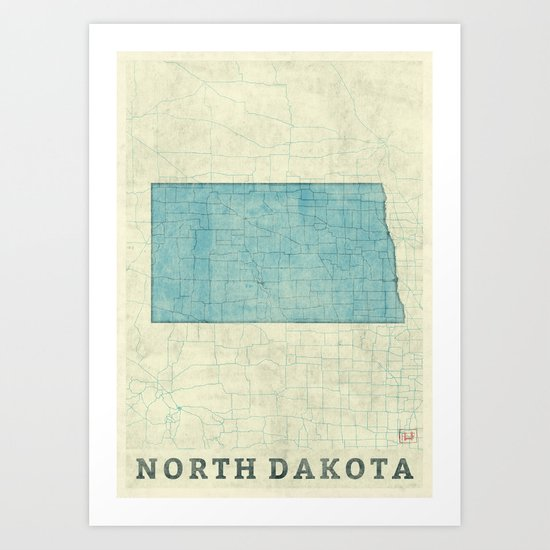 North Dakota State Map Blue Vintage Art Print