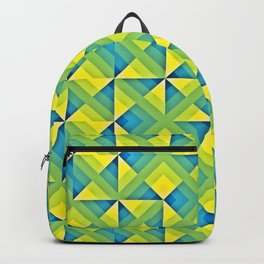 Blue Yellow Geo Pattern Backpack