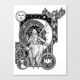 Girl in the Moon Canvas Print
