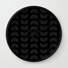 Black & Gray Leaves Wall Clock