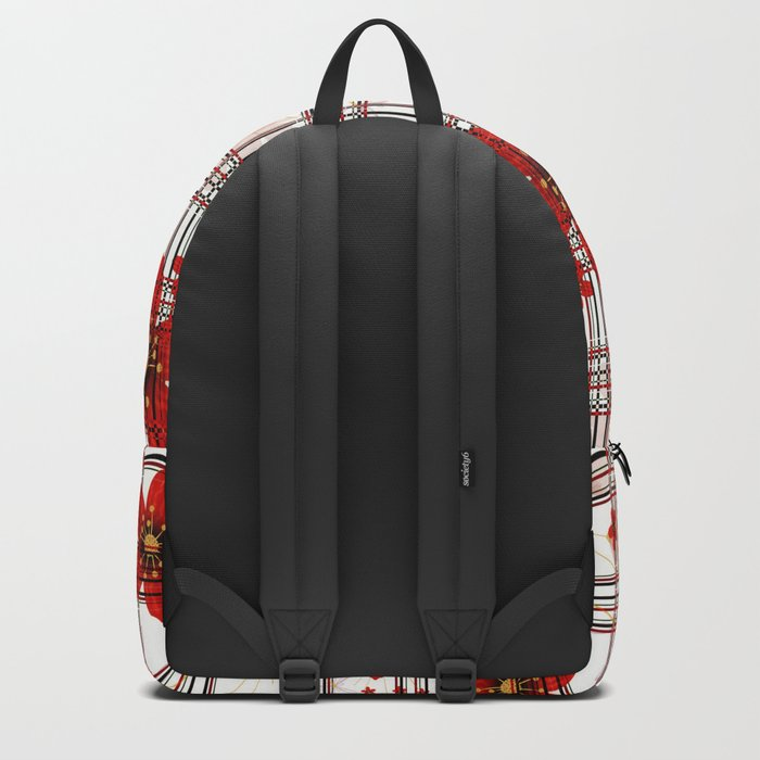 Abstract floral pattern on a white background in a cage. Backpack