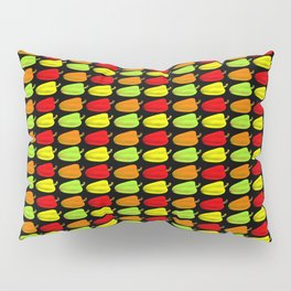 Bulgarian pepper. Pattern and background of colorful peppers on a black background Pillow Sham
