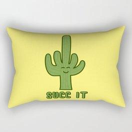 Succ It - Cute But Rude Cactus - Yellow Background Rectangular Pillow