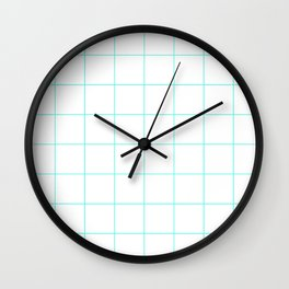 Graph Paper (Turquoise & White Pattern) Wall Clock