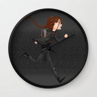 katniss Wall Clocks featuring Katniss by ChiaraCi
