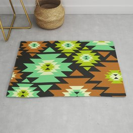 Ethnic shapes in green and brown Rug
