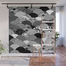 Nature background with japanese sakura flower, Cherry, wave circle Black gray white colors Wall Mural