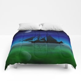 Sailing On A Sea of Green. Comforters