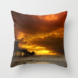 Stormy Sunset H.B. Pier Throw Pillow