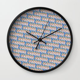 'J'adore' Trendy Rainbow Text Pattern (Blue) Wall Clock