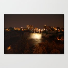 High Falls at Night White Canvas Print