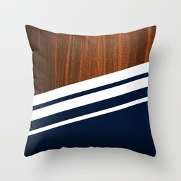 Wooden Navy Throw Pillow