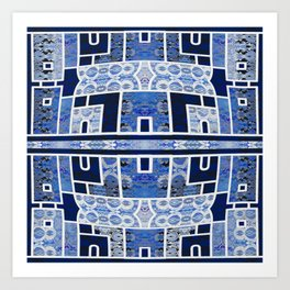 Moroccan Boho Blue Tile Boho Geometric Lace Detail Art Print