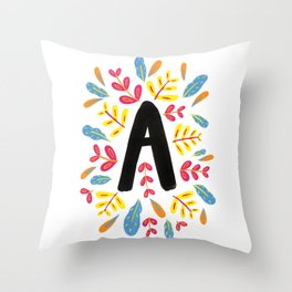 Letter 'A' Initial/Monogram With Bright Leafy Border Throw Pillow