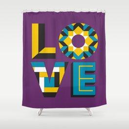 LOVE - Purple Shower Curtain