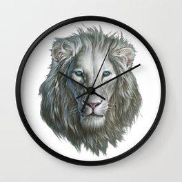 White Lion Portrait Wall Clock