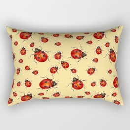 """I LOVE RED LADY BUGS"" ON CREAM COLOR Rectangular Pillow"