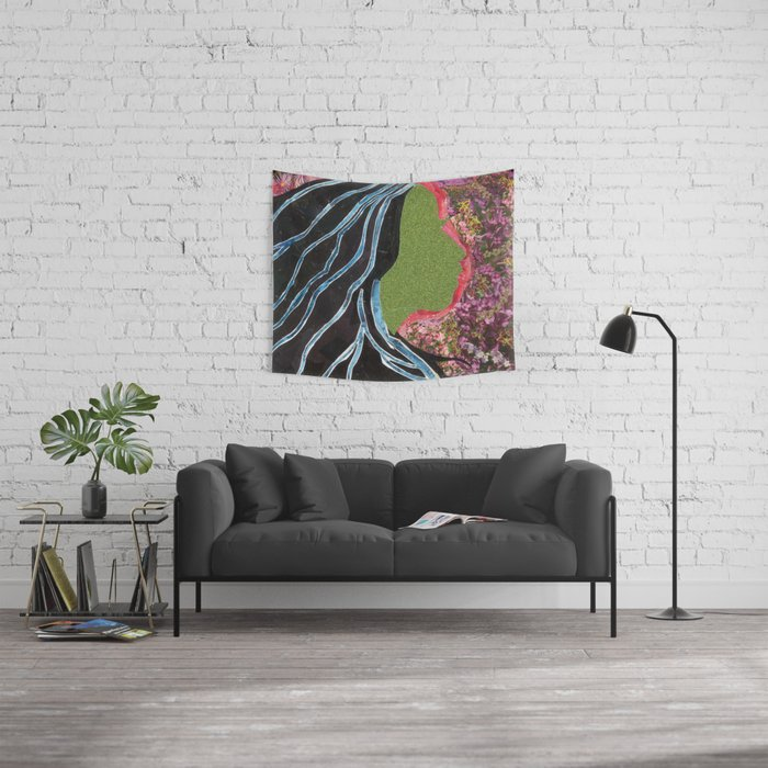 Black Hair Lady Wall Tapestry